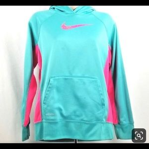 Nike Girls Therma Fit Pullover Turquoise/Fuchsia